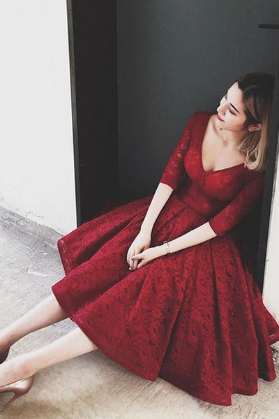 Short Sleeve V Neck Red Lace Prom Homecoming Dress,Red Lace Bridesmaid Dress Tea Length, Short Lace Homecoming Dress with Sleeves - FlosLuna