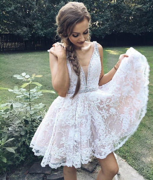 Short V Neck Pearl Beaded Lace Prom Homecoming Dress,Inexpensive Lace Prom Homecoming Dress Online - FlosLuna
