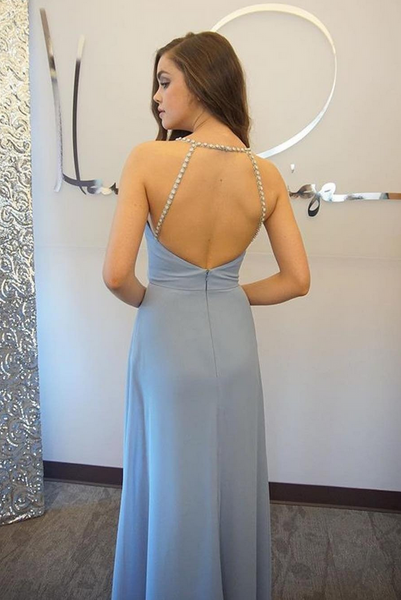 Simple Chiffon Prom Dresses,Blue off Shoulder Prom Dress, Evening Dresses, Formal Dresses, Graduation Party Dresses, Banquet Gown - FlosLuna