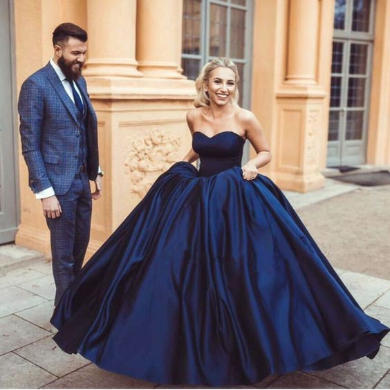 Simple Navy Blue Ball Gown Prom Dresses Evening Dresses for Women - FlosLuna