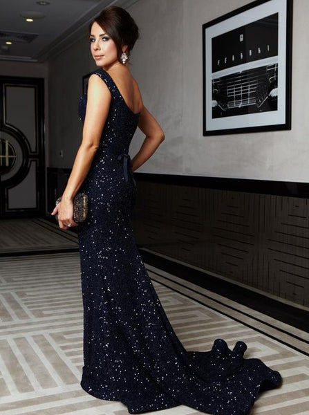 Sleeveless Mermaid Navy Sequin Prom Evening Dress with Sash Mother of Bride Dress Online - FlosLuna