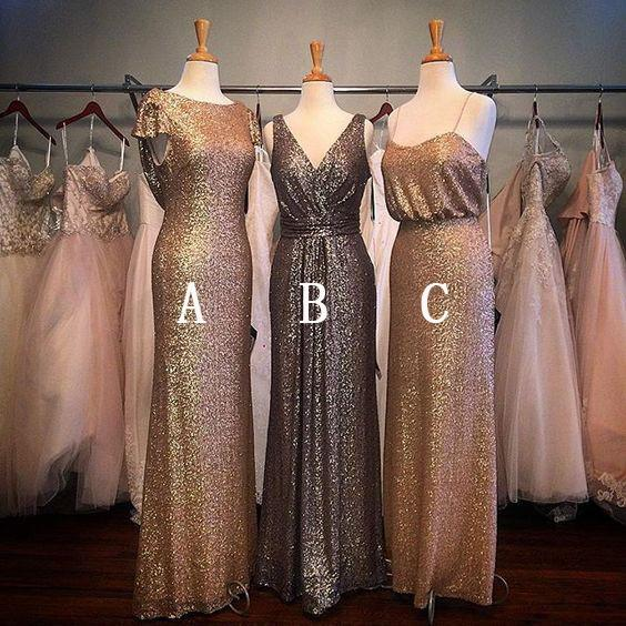 Sequin Gold Mismatched Long Wedding Cheap Spaghetti Strap Bridesmaid Dresses - FlosLuna