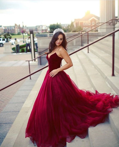 Sweetheart Gorgeous Red Ball Gown Prom Party Dress,Burgundy Ball Gown Sweet 16 Dress,Burgundy Gown Evening Dress - FlosLuna