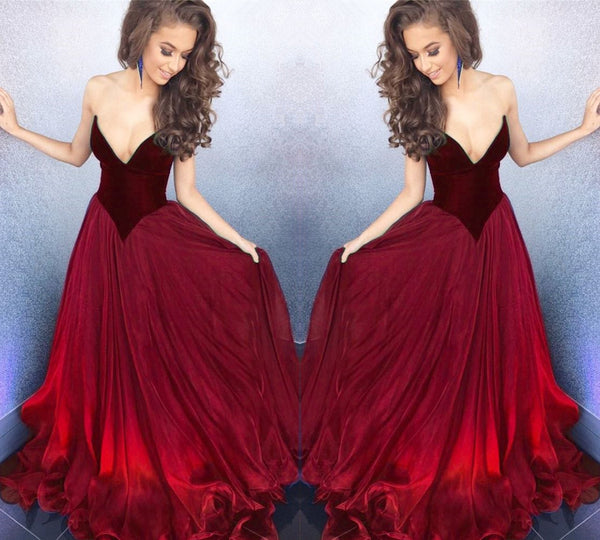 d02ac67dfb8 Sweetheart Gorgeous Red Ball Gown Prom Party Dress