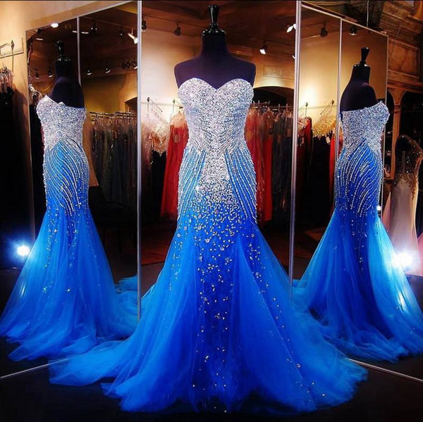 Sweetheart Royal Blue Mermaid Tulle Prom/Evening Gowns - FlosLuna