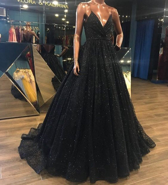 Latest Design V Neck Sparkly Long Black Prom/Evening Dress,Shiny Sequin Lace Prom Evening Gowns - FlosLuna