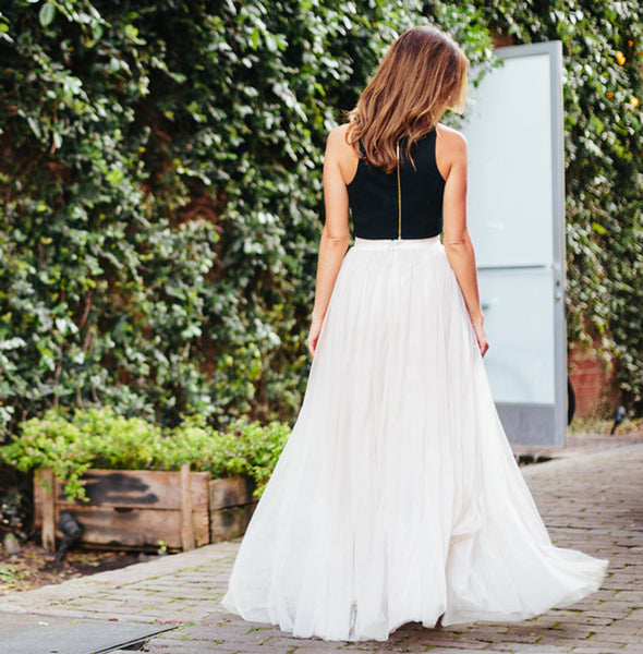 Two Pieces Prom Evening Dress Ivory Tulle Skirt Crop Top Outfit Two Pieces Wedding Dress Maxi Tulle Skirt Bridesmaid Dress Custom Made Dress Online - FlosLuna