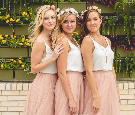 Two Pieces Bridesmaid Dress,Tulle Skirt Simple Top Bridesmaid Dress,White Top Blush Tulle Bridesmaid Dress,Informal Wedding Dress,Party Dress,Tulle Skirt Prom Dress - FlosLuna