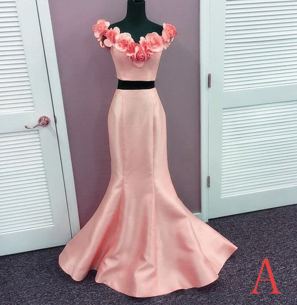 Two Pieces Prom Dress,Charming Flower Satin Prom Dress,Pink Evening Gowns,Fairy Evening Dress - FlosLuna