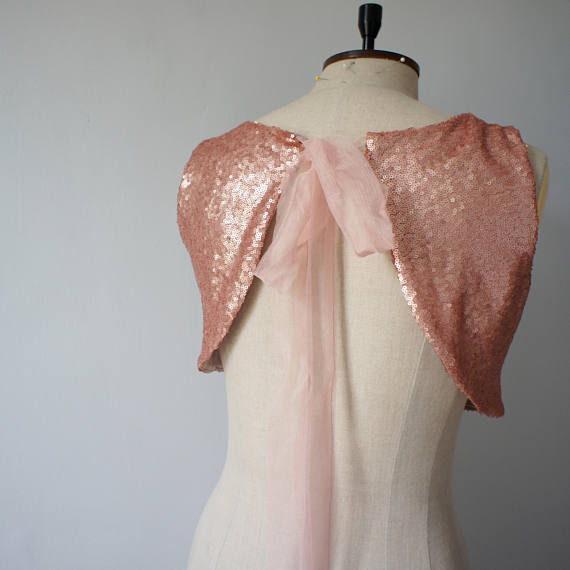 Two Pieces Rose Gold Sequin Top Tulle Prom/Evening/Bridesmaid/Wedding Dress - FlosLuna