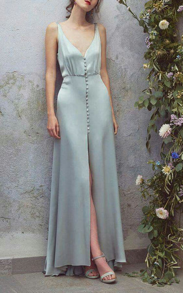 Low Cut Deep V Neck Blue Maxi Dress,Sexy Satin Long Prom/Evening/Bridesmaid Dress with Buttons,Sexy Blue Maxi Dress - FlosLuna