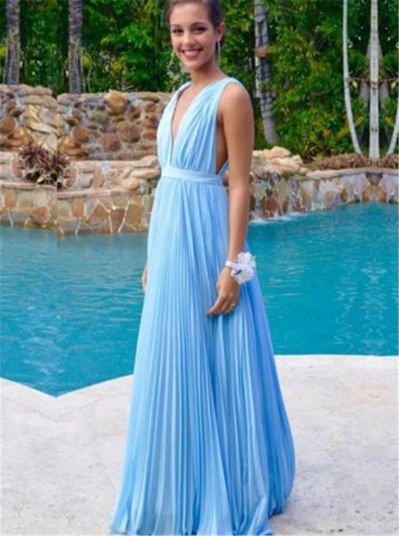 V neck Blue Prom Dress,Chiffon Long Prom Dress,Sexy Backless Prom Evening Dress,Sexy Prom Dress - FlosLuna