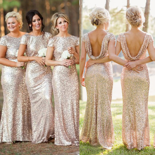 Mermaid Cap Sleeve Bridesmaid Dress,Sequin Bridesmaid Dress,Rose Gold Sequin Dress,Cowl Back Bridesmaid Dress,Round Neck Bridesmaid Dress,Long Sequin Mermaid Bridesmaid Dress - FlosLuna