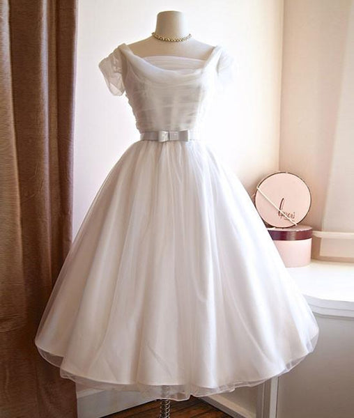 WHITE ROUND NECK TULLE RETRO SHORT PROM/WEDDING DRESS, BRIDESMAID DRESS - FlosLuna