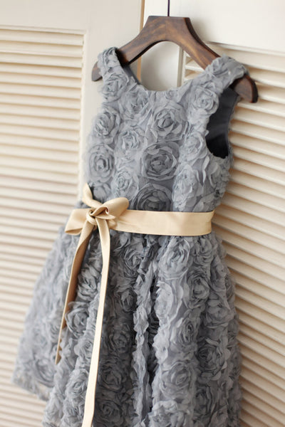 Wedding Flower Girl Dress,Pretty Grey Flower Girl Dress with Sash, Floral Tutu Flower Girl Dress - FlosLuna