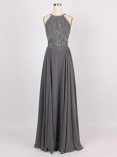2018 Amazing A-line Halter Floor-Length Charcoal Grey Bridesmaid Dress Chiffon Sleeveless Beaded Backless Grey Prom Dress Evening Gowns - FlosLuna