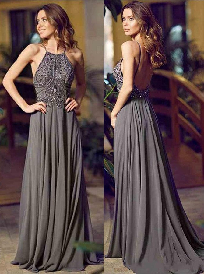 367e93a6c8ef9 2018 Amazing A-line Halter Floor-Length Charcoal Grey Bridesmaid Dress  Chiffon Sleeveless Beaded Backless Grey Prom Evening Gowns
