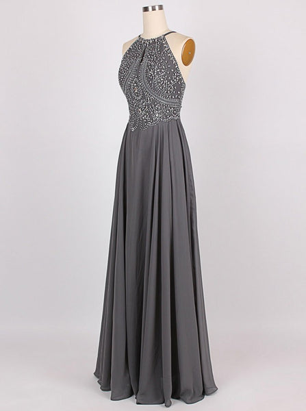2018 Amazing A-line Halter Floor-Length Charcoal Grey Bridesmaid Dress Chiffon Sleeveless Beaded Backless Grey Prom Evening Gowns - FlosLuna
