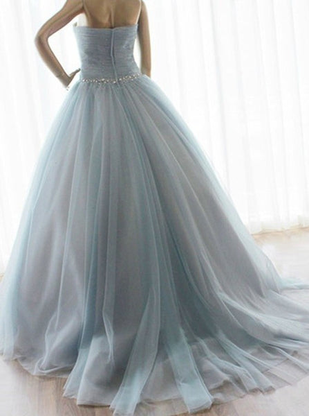 Strapless A-line Long Tulle Prom / Quinceanera Dress Blue Prom Dress Ball Gown Colored Wedding Dress - FlosLuna