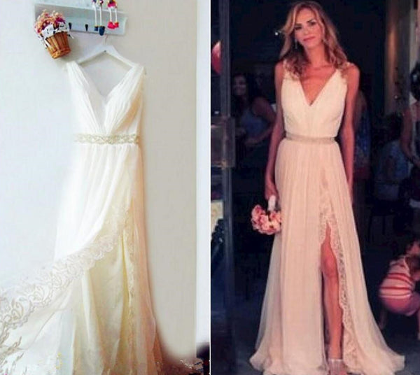 Wedding Dress,Chiffon Wedding Dress,Simple Wedding Dress,Lace Wedding Dress,Sexy Wedding Dress,Beach Wedding Dress ,Cheap Wedding Dress ,V Neck Wedding Dress ,Wedding Dress for Bride ,Wedding Dress 2016,Bridal Dress ,Bridal Gown - FlosLuna