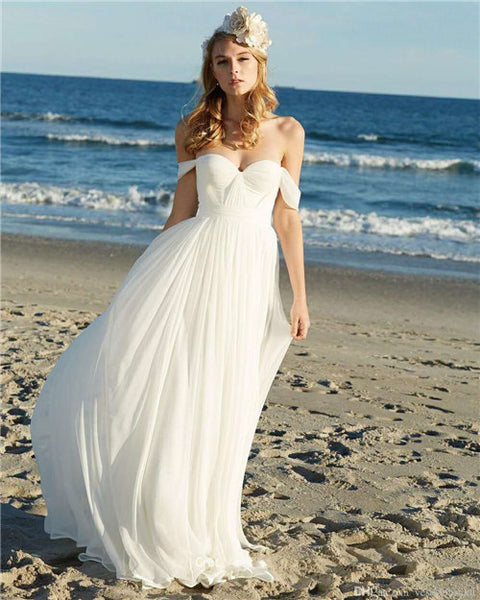 Charming White A Line Chiffon Long Prom Dress Off The Shoulder Beach Wedding Dress