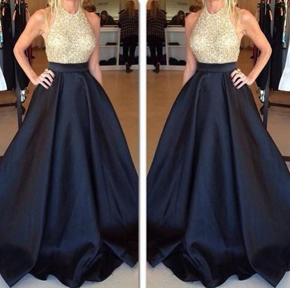 Backless Black Satin Evening Gowns Sexy Formal Gowns Gold Beaded Top Black Bottom Prom Dress - FlosLuna