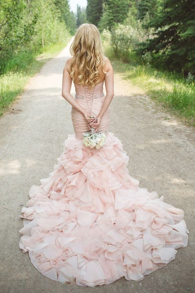 Sweetheart Mermaid Cheap Organza Beaded Waist Blush Wedding Dress Online - FlosLuna