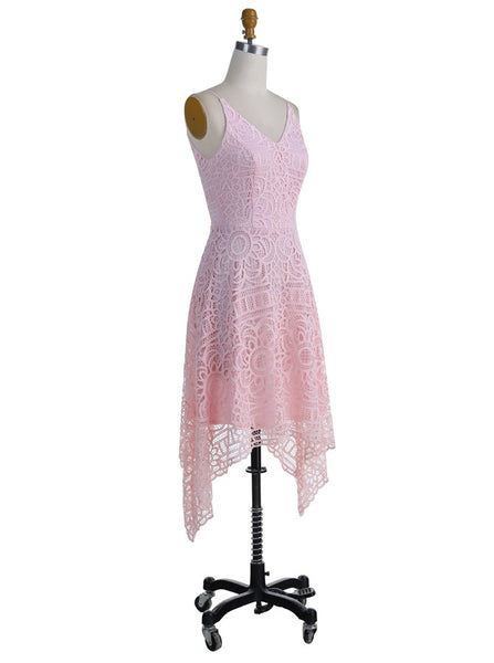 Elegant A-Line V-Neck Asymmetrical Pearl Pink Lace Bridesmaid/Prom/Homecoming Dress Blush Bridesmaid Dress Prom - FlosLuna
