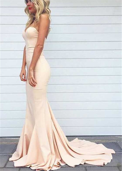 Blush Mermaid Prom Dress,Sexy Strapless Prom Dress,Pink Evening Dress,Mermaid Bridesmaid Dress - FlosLuna