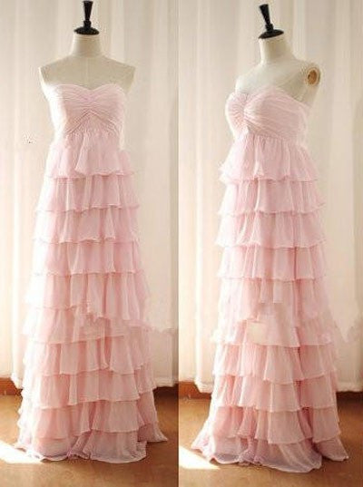 Blush Pink Prom Dress,Elegant Pink Layered Chiffon Evening Dress,Long Chiffon Pink Bridesmaid Dress - FlosLuna