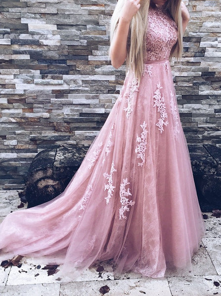 Round Neck Modest V Back Prom Evening Dress Lace Top Tulle Skirt Prom Formal Gowns for Party - FlosLuna