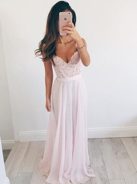 Two Straps Lace Top Chiffon Skirt Pink Prom Dress Elegant Beaded Evening Dress Formal Blush - FlosLuna