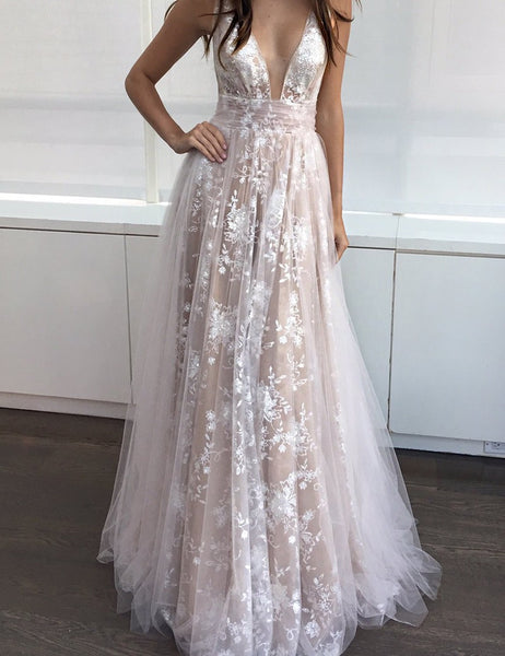 Amazing White Deep V-Neck Floor-length Sleeveless Champagne Tulle Prom Dress Formal Evening Gowns Lace Tulle Prom Dress 2018 - FlosLuna