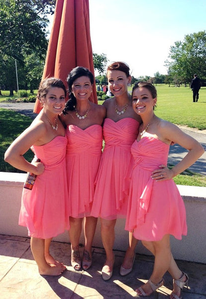 Short Bridesmaid Dress,Coral Bridesmaid Dress,Custom Strapless Bridesmaid Dress,Tired Skirt Chiffon Bridesmaid Dress - FlosLuna