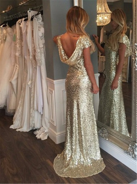 Rose Gold Mermaid Cowl Back Wedding Dress Sequin Bridesmaid Dress Long Sexy Cap Sleeve Sequin Prom Evening Dress Backless - FlosLuna