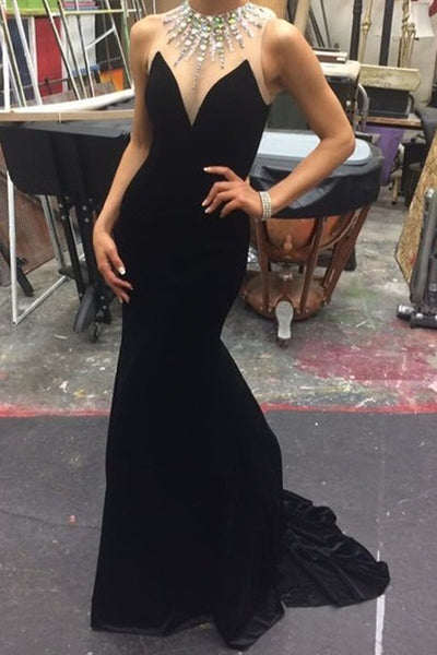 Fashion Mermaid Jewel Sleeveless Black Long Mermaid Prom/Evening Dress With Beading - FlosLuna