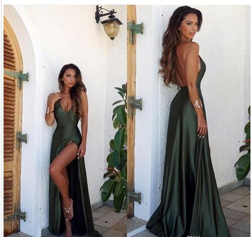 Olive Green Backless Split Elegant Simple Prom Party Dress V-Neck Long Floor Length Evening Gowns - FlosLuna