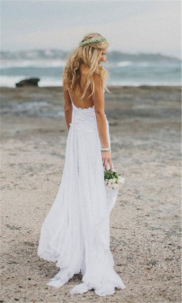 Beach Wedding Dress,Sexy Spaghetti Strap Bridal Gowns,Romantic Bohemian Wedding Dress, Lace Wedding Bridal Gowns, Plus Size Lace Wedding Dress, Sexy Split Side Bridal Gowns, Vintage Lace Wedding Gown - FlosLuna