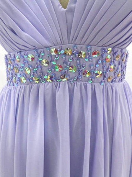 Lilac Long Chiffon Prom Evening Dress Criss Cross Back Sexy Backless Prom Evening Dress Inexpensive - FlosLuna