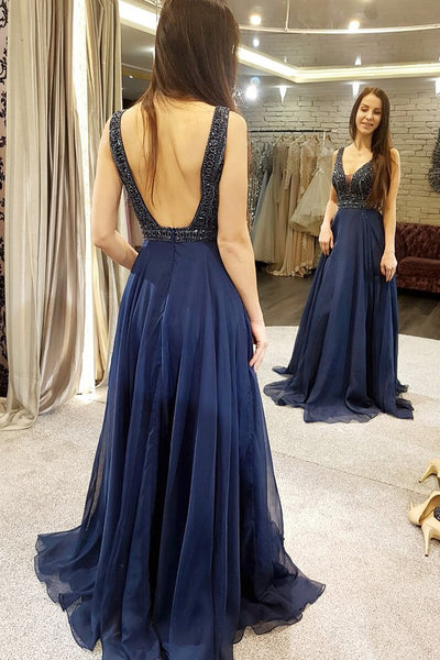 Luxurious beads bodice long chiffon prom dress, long navy blue, burgundy evening dress - FlosLuna