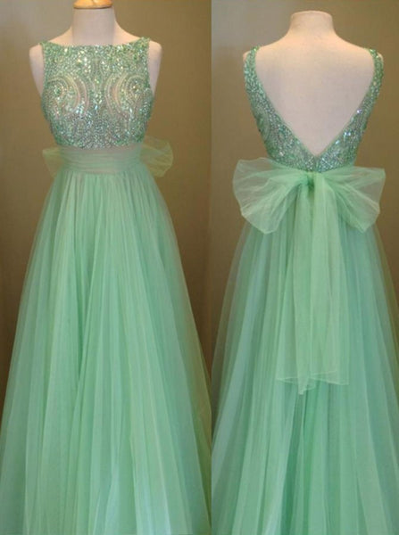 Mint Beaded Prom Dress Tulle Low Back Evening Gowns Sparkly Formal Party Dress Tulle Skirt Bridesmaid - FlosLuna