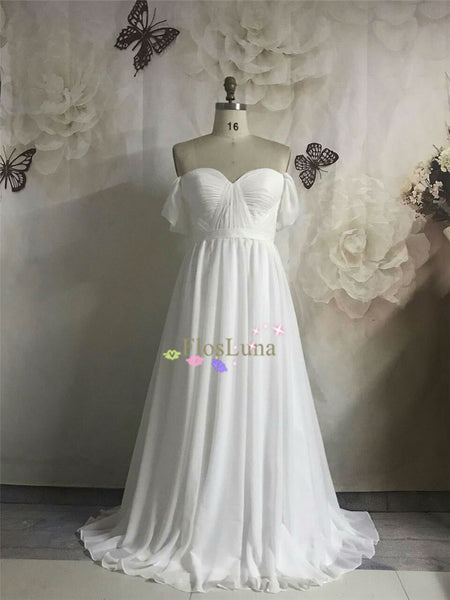 Charming White A-line Chiffon Long Prom Dress Off the Shoulder Beach Wedding Dress - FlosLuna