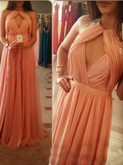 b9054de6b7a This item  Elegant Jewel Sleeveless Floor-Length Backless Ruched Blush Prom Dress  Cap Sleeve