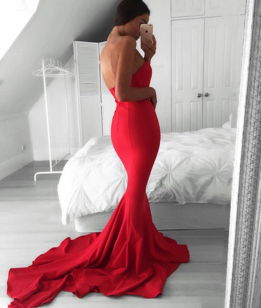 Glamorous Mermaid Sweetheart Red Sweep Train Prom/Evening Dress - FlosLuna
