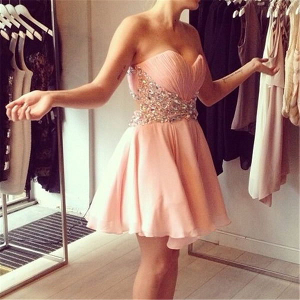 Short Pink Prom Dress,Blush Prom Dress,Jeweled Prom Dress,Charming Prom Dress,Short Homecoming Dress - FlosLuna