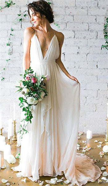 817f58307bc9d Inexpensive Wedding Dress,Simple Chiffon Wedding Gown, Spaghetti Strap Bridal  Gown,Sexy Chiffon