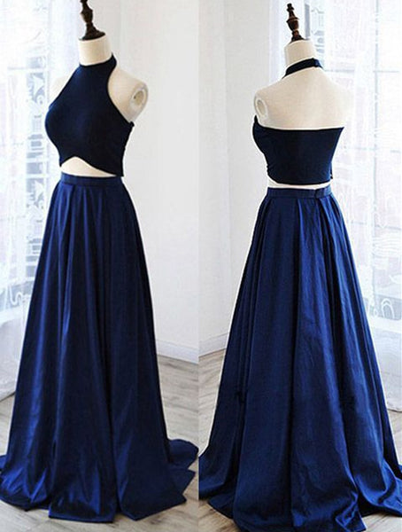 Two Pieces Long Satin Prom Dress,Formal Black And Royal Blue Evening Gowns,Fashion Bridesmaid Dress - FlosLuna