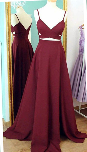 Two Piece Prom Dress,Burgundy Prom Dress,Spaghetti Strap Prom Gowns,Formal Prom Dress,Backless Prom Dress,Burgundy Satin Evening Dress - FlosLuna