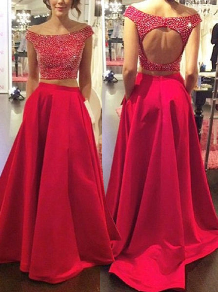 Two Pieces Red Backless Prom Dress Long Satin Evening Dress Off Shoulder Formal Party Dress with Pocket - FlosLuna