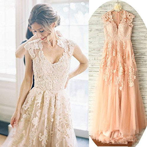Vintage Lace V Neck Cap Sleeve Blush Wedding Gowns,Blush Lace Prom Dress - FlosLuna
